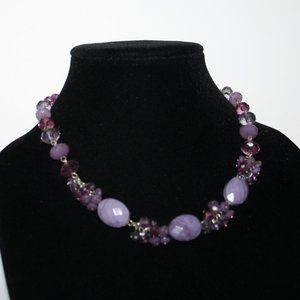 Beautiful silver and purple statement necklace